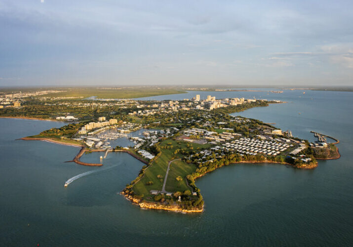 Darwin city basked in the light of the setting sun.<br /><br />From the sparkling harbour and WWII history to the city's Asian-influenced food and tropical outdoor lifestyle, Darwin is an adventurer's paradise.